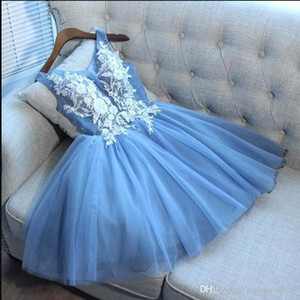 Elegant Sky Blue Tulle A Line Short Homecoming Dresses Lace Applique Beaded Knee Length Short Party Prom Dresses With Lace Up BA9921