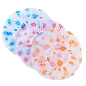 Flor Impresso Cap Lace Elastic Shower Caps Lady Waterproof Shower Cap cabelo lavagem da cara Capa PVC Caps WY477Q