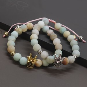 2020 Micro Pave Zirconia Gold-Color King Crown Bracelet Women Frosted Amazonite Stone Bracelets For Women Gift For Her CB-01