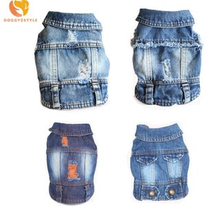 Jeans Pet Dog Vest Shirts Clothes Summer Puppy Cat Hole Denim T-shirt Casual Cowboy Jacket For Small Dogs Chihuahua Coat Costume