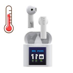 2 درجة الحرارة IN1 الجسم القياس اللاسلكية Bluetooths البسيطة سماعات M6 PLUS TWS سماعات بلوتوث LED العرض في الأذن سماعات الأذن اللاسلكية