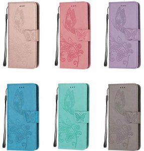Mariposa caja de la carpeta de cuero para Samsung Note 10 Pro S10 S10e S9 A10S A20S A30S A40 A20 A70 A20E ranura de la tarjeta Holder A10 flor Identificación cubierta del tirón