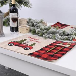 Placemat Table Ploth Red Black Grid Tovaglia Tovaglia Natale Rettangolo Tovaglia Natale Decorazioni Tavolo Tappetino Casa Atmosfera Atmosfera DHC46
