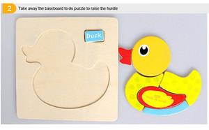 Puzzle di legno Funny Animal fumetto giocattolo 1 Pz legno puzzle dei bambini del capretto del bambino Learning giocattolo educativo dello sviluppo intellettuale