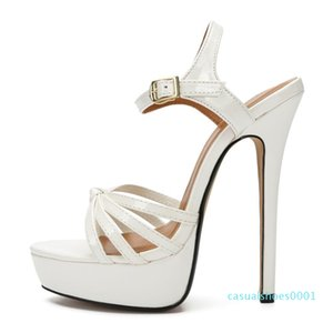 SDTRFT PLUS:45 46 47 48 Women Party Sandals 2020 Summer Elegant 16cm thin High Heels Mujer Dress Shoes Peep Toe Buckle RED pumps c01