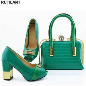 Rhinestone Wedding Shoes Vendas em mulheres sapatas de harmonização e Bag Set Set Itália Africano e combinando Bags Jogo italiano
