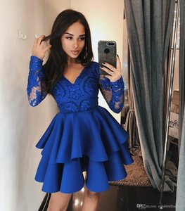 2019 Royal Blue brevi abiti da cocktail party con gonna a balze a più livelli personalizzati MAde abiti da homecoming economici