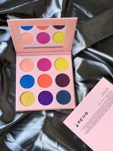 Pigment 9 Renkler Göz Farı Paleti No Logo Makyaj Göz Farı Paleti Pembe Karton Mat ve Işıltılı Göz Farı Paleti Make Up Paletler