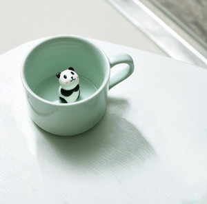 Criativo Copo De Cerâmica Caneca De Café 3D Copo De Leite com Animais Bonitos Dos Desenhos Animados Panda Coelho Tee Copo Resistente Ao Calor Celadon Copos Caneca