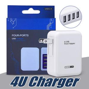 Rápido Velocidade 4 portas USB parede Início Carregador de Viagem AC Power Adapter com Folding ficha para Universal Smartphones com pacote de varejo