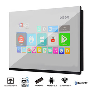 Soulaca 18.5inch LED Smart TV Android Miroir IP66 étanche pour salle de bains, hôtel, Cuisine HD Ready TV TNT avec HDMI, haut-parleurs intégrés