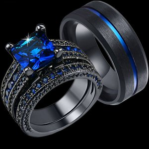 I suoi Coppie Hers Anello Imposta Womens Nero pieno d'oro Blue Stone CZ Anelli di fidanzamento sposa Uomo Acciaio Wedding Band