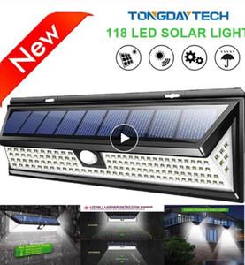 Lampada solare 118 LED PIR di movimento di sicurezza esterna della lampada del sensore IP65 impermeabile solare da giardino luci di emergenza della lampada da parete della luce solare