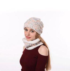 Громоздкая Вязаная шапочка Hat шарф Set 4 Стили лыжную шапочку Зима сгущает плюш выровнял Neck Warmer 2pcs / комплект LJJO7198