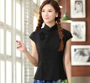 Shanghai Historia Nacional tendencia del estilo chino top top cheongsam tradicional china de algodón de lino blusa para las mujeres