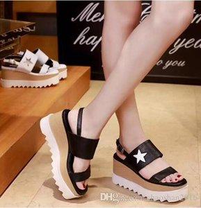 2017 Yeni toptan Stella Mccartney Yıldız Terlik Kadınlar Moda Ayakkabılar Elyse dolgu ayakkabı Gerçek Deri Sandalet Platformu boyutu: 35-39 fr