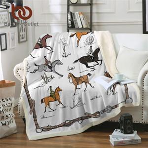 BeddingOutlet Животные Throw Одеяло Конный плюшевые Покрывала Англия Традиции Верховая езда белье Одеяло Спорт кровать