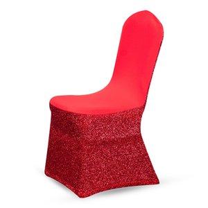 Yimeis Cubre Sillas Cubiertas Rojos para las sillas con respaldo de las lentejuelas elástico cenar Cubre Sillas CH37001