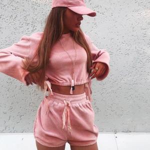 Eşofmanlar Tasarımcı Katı Renk Flare Kol İpli Uzun Kollu Tişört Şort Dişi Giyim Kadın Kadife Casual
