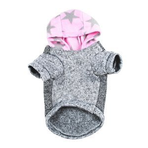 Pet Dog Clothes Cotton Hooded Warm Coat For Dogs Autumn And Winter 2 Legged Velvet Short Sleeve Jacket I Love Mommy   Daddy
