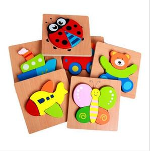 Children's wooden puzzle toys Cartoon puzzle three-dimensional puzzle hand grasp board building blocks Animal Mosaic