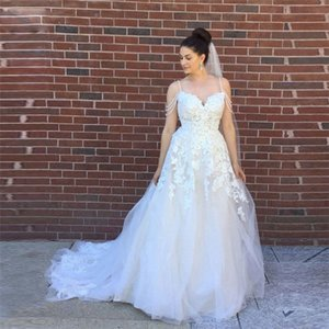 Romantic Spaghetti Strips Wedding Dress Appliques Lace Wedding Dresses Sexy Backless Long Tulle Bridal Gowns Custom Made