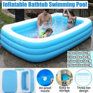 1.3m- 3.05m Large Inflatable Swimming Pool Children Adults Bathing Tub Baby Home Use Paddling Pool Inflatable Square Kids Pool