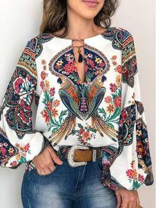 Más mujeres del tamaño de la blusa del verano tops casuales de la impresión floral Blusa manga farol Top Impreso jersey suelto O-cuello de la blusa superior