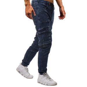 High Street Men Blue Draped Jeans Pockets Spring 19ss Summer Casual Denim Blue Pencil Pants Trousers
