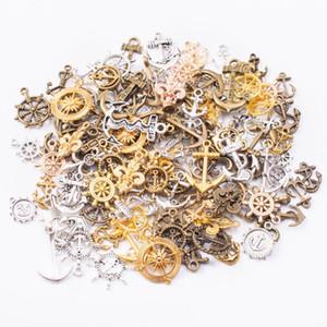 50g 100g Anchor leme encantos mistos Pingentes Steampunk Bronze antigo Pulseiras Colares Artesanato de metal para fazer jóias DIY