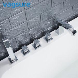 2 vias de bronze de prata Cachoeira torneira da banheira Set cromado Rosto Espelho Casa de banho Banheira Mixer Tap ColdHot torneira de água