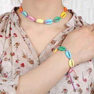Fashion Woman Colorful Shell Choker Boho Natural Seashell Bracelet Lady Beach Conch Jewelry Party Festival Gift TTA1278