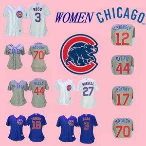 Frauen Lady Kyle Schwarber Trikot Chicago David Ross Kris Bryant Addison Russell Anthony Rizzo Joe Maddon Bseball Trikots