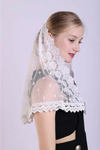Shoulder Length Sheer Lace Mantilla and Catholic First Communion Girls Veils Short Bridal Wedding Costume Veil