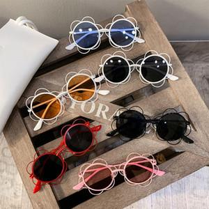 Meninas Meninos Sunglasses Baby Kids Crianças da flor do metal redonda óculos de sol UV400