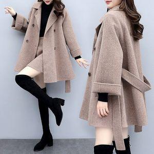 2020 femminile reale Soild Colore Twinset di lana allentato Coat Short Skirt pesanti di lana mezzo busto Skirt Suit Sets donna Tide Due-Parti