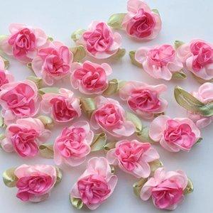 Flores de la cinta 10pcs rosado del satén de costura artesanal Apliques decoración de la boda de la flor artificial de bricolaje falso Cabeza de flor