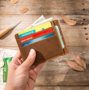 Portefeuille main rétro mini petit cuir fou de cheval portefeuilles sac à main en cuir pour femmes hommes cowhide couche carte porte-monnaie