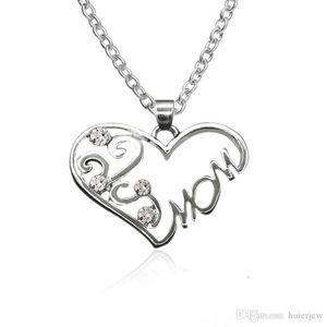 Kettenhalsketten-Großmuttertags-Geschenk-Herz-Anhänger Halskette Mom Wort Halskette Romantischer Geburtstag Günstige Roman Schmuck Anhänger Halskette