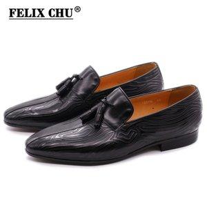 FELIX CHU Uomo nappa mocassini neri Brown cuoio genuino traspirante, scarpe Slip-On Mens guida confortevole