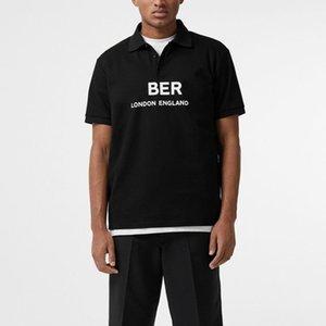 18SS Polo T shirt Sólida Carta Impressa LOGOTIPO T-Shirt Das Mulheres Dos Homens de Moda Mangas Curtas Negócio Simples Verão Rua Casual Tee HFYMTX542