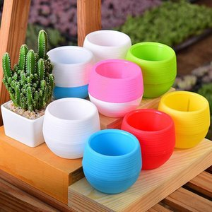 Mini Round Plastic Unbreakable Succulent Plant Flower Pot Garden Home Office Desktop Micro Landscape Decor LX2309