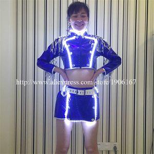5 Pcs White Led Luminous Sexy Lady DS Dress Led Flashing Ballroom Dance Costume Stage DJ Nightclub KTV Bar Waiter Clothes