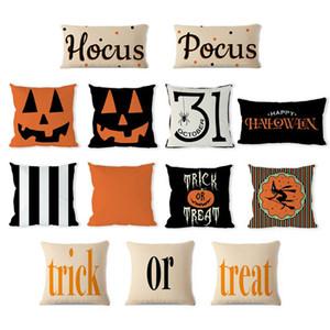 13 styles Halloween Linen Pumpkin Pillow Case Trick Pillow Cover Car Sofa Cushion Cover Home Decor Halloween props 45*45cm