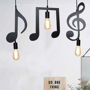 Modern Iron Music Caráter Notas E27 Criativo Lâmpada Pingente de Luz para Bar quarto Sala de Jantar Pingente de Iluminação