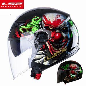 LS2 OF569 Retro Open Face Motorcycel Helmet Vintage Man Woman casco moto Scooter Capacete cascos para moto Double Lens