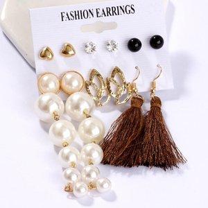 Fashion Circle Round Pearl Hoop Earrings Set For Women Vintage Bohemian Mix Geometric Dangle Drop Twisted Brincos Earring Jewelry