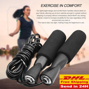 DHL Wholesale Aerobic Exercise Boxing Skipping Jump Rope Adjustable Bearing Speed Fitness Black Unisex Women Men Jumprope FY6160