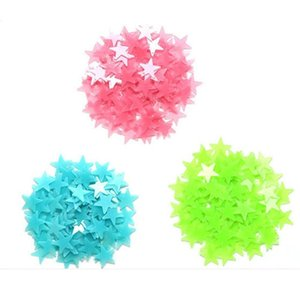 Luminous Stars Wall Sticker Removable 3D Moon Stars Sticker Glow in The Dark Adhesive Colorful Wall Sticker Deco