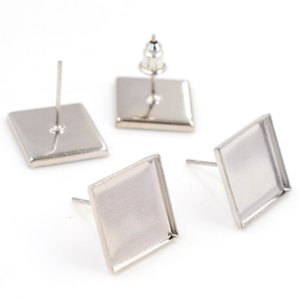 12mm 20pcs Lot 5 Colors Plated Square Earring Studs,Earrings Blank Base,Fit 12mm Glass Cabochons,Buttons